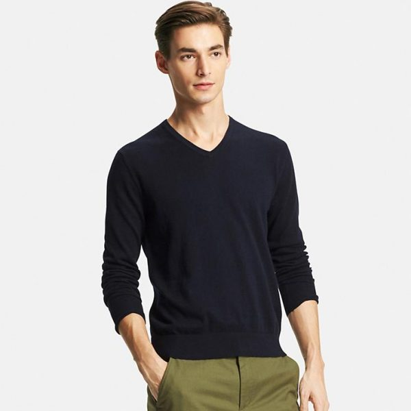 MEN COTTON CASHMERE V-NECK SWEATER1